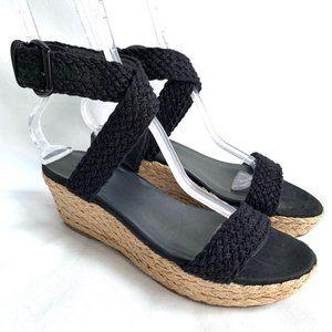 Stuart Weitzman wedge sandals espadrilles black 9